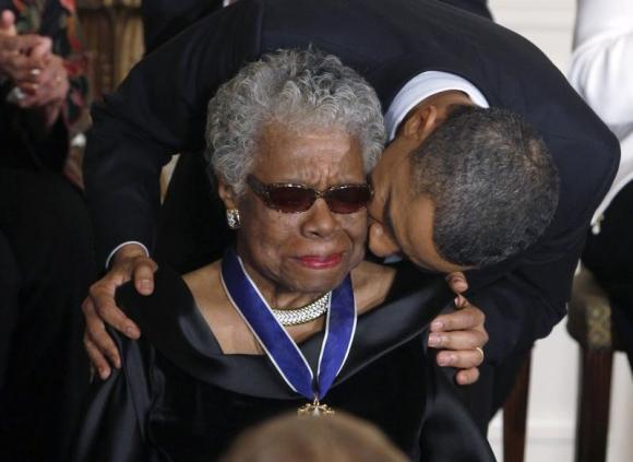Maya Angelou receives a Medal of Freedom from U.S. President Barack Obama at the White House in Washington